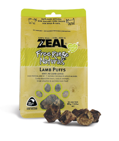 Zeal Free Range Naturals Lamb Puffs Cat & Dog Treats (85g)