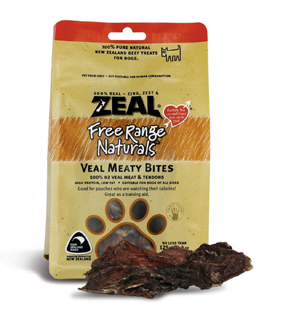 Zeal Free Range Naturals Veal Meaty Bites Dog Treats (125g)