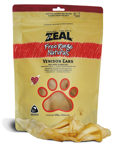 Zeal Free Range Naturals Venison Ears Dog Treats (125g)