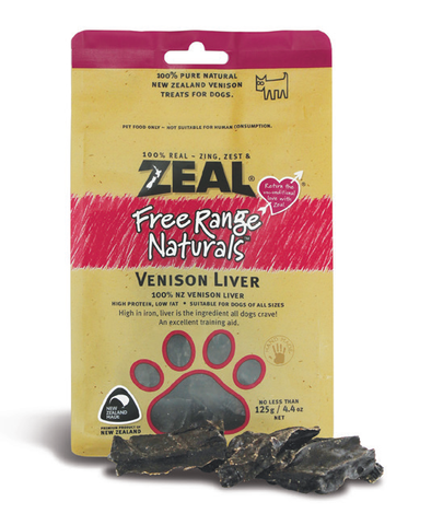 Zeal Free Range Naturals Venison Liver Dog Treats (125g)