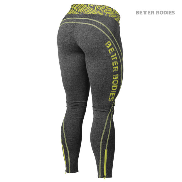 50% OFF Better Bodies Shaped Logo Tights - Lime - CLEARANCE - FINAL SALE