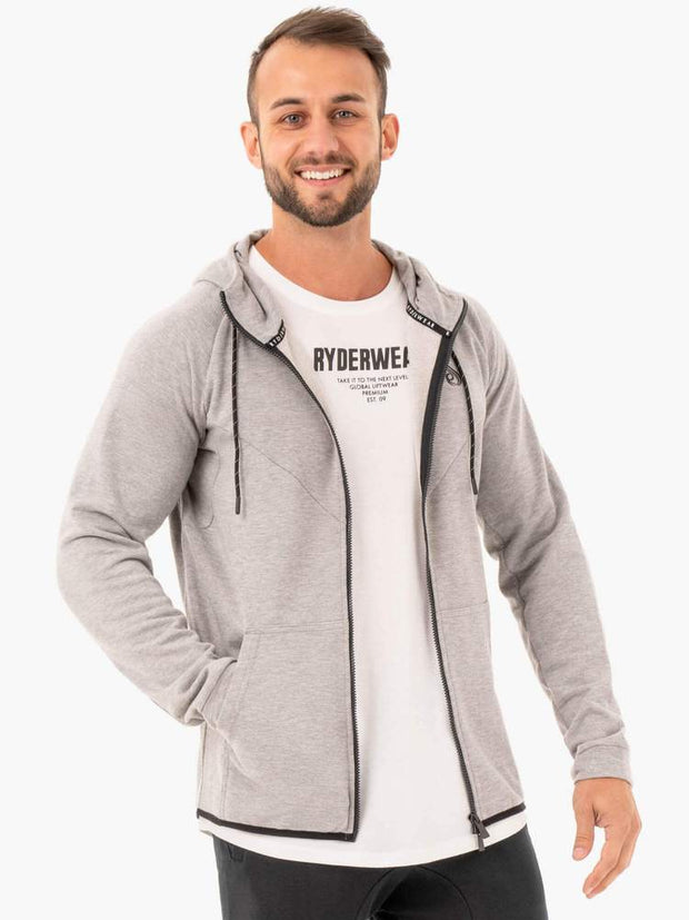 Ryderwear Athletic Zip Up Hoodie Jacket - Grey Marl