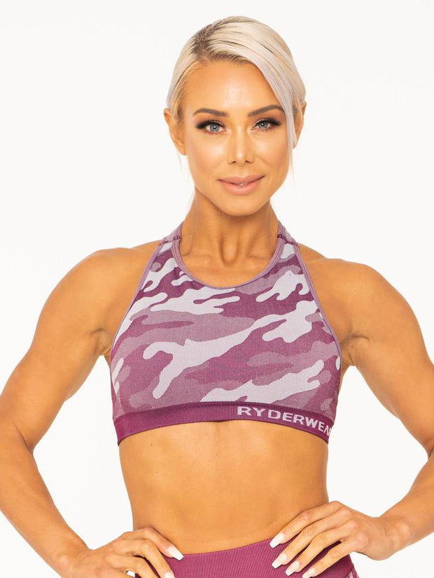 Ryderwear Camo Seamless Sports Bra - Burgundy Camo