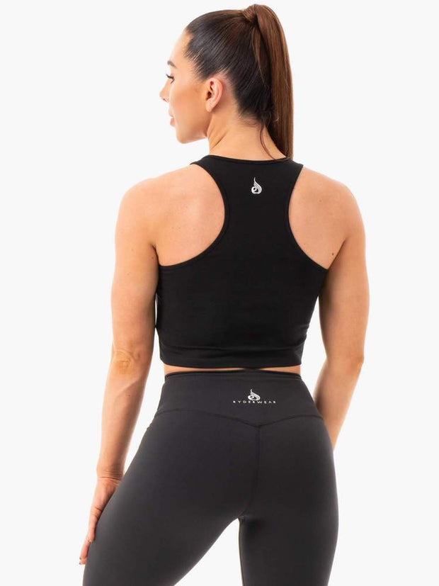 Ryderwear Cropped Racer Back Tank - Black