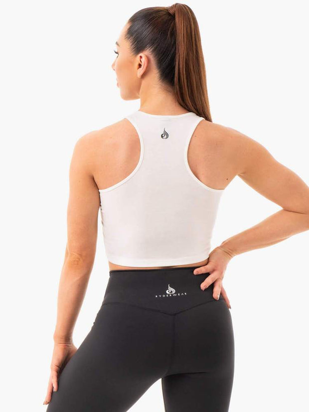 Ryderwear Cropped Racer Back Tank - White