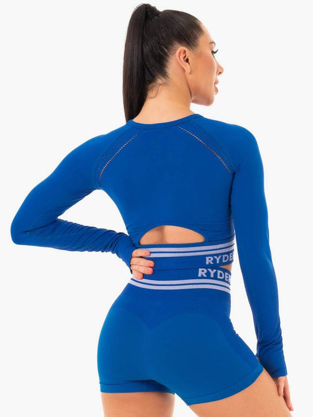 Ryderwear Freestyle Seamless Long Sleeve Crop - Blue
