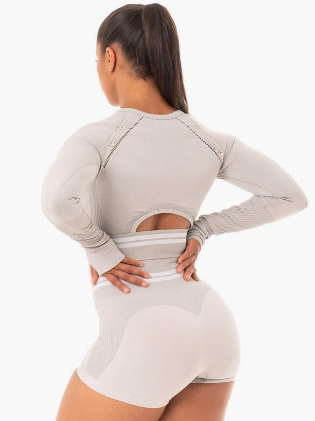 Ryderwear Freestyle Seamless Long Sleeve Crop - Grey