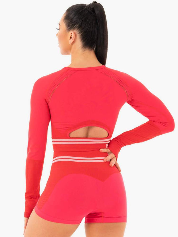 Ryderwear Freestyle Seamless Long Sleeve Crop - Red