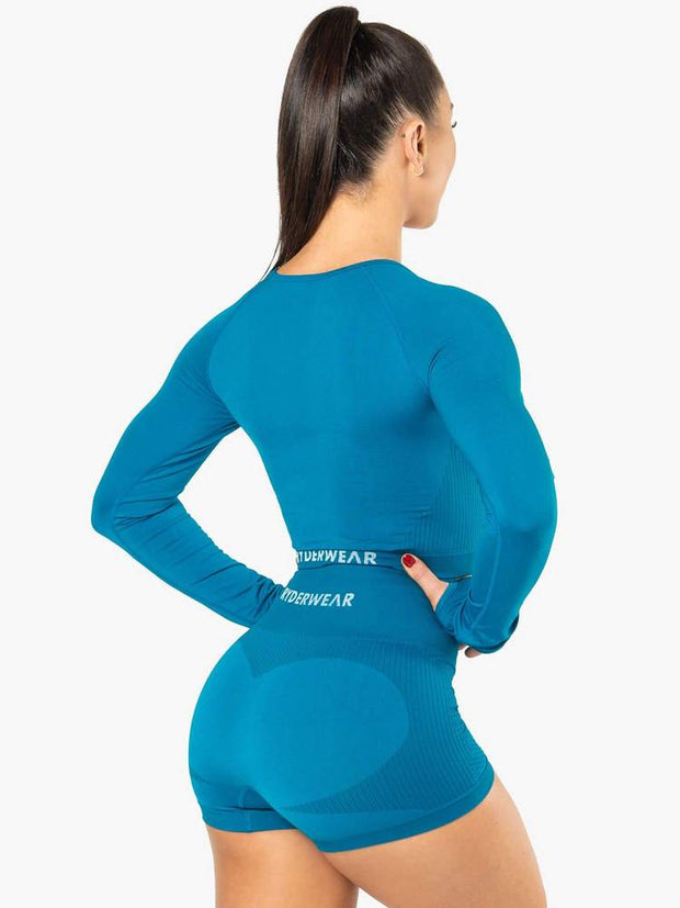 Ryderwear Electra Seamless Long Sleeve Crop - Electric Blue