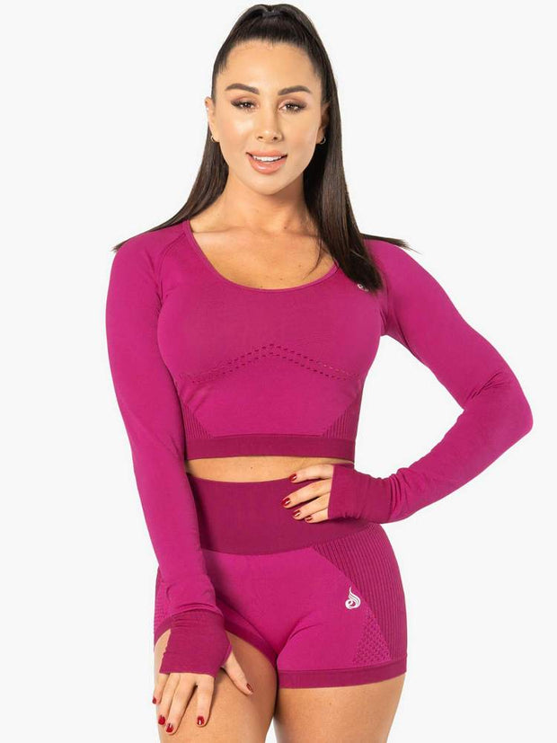Ryderwear Electra Seamless Long Sleeve Crop - Electric Pink