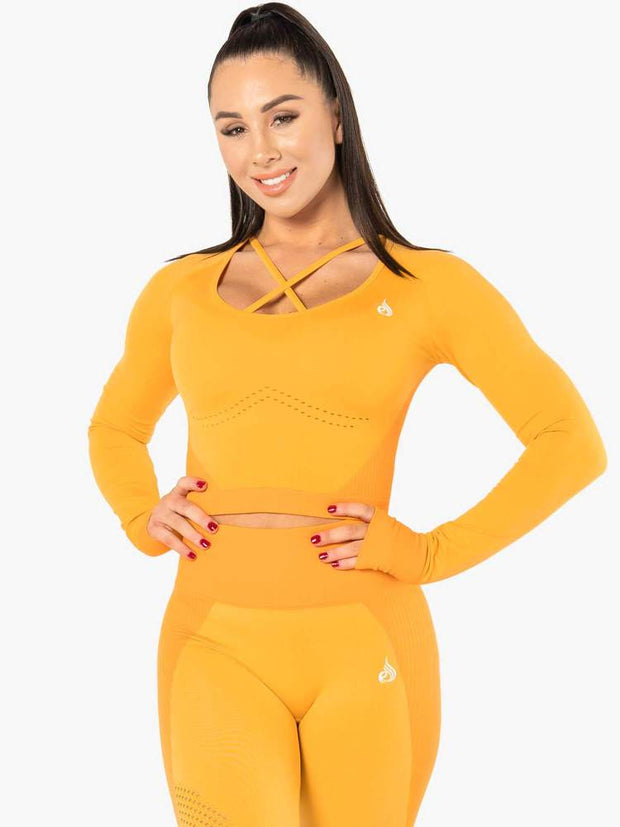 Ryderwear Electra Seamless Long Sleeve Crop - Electric Yellow