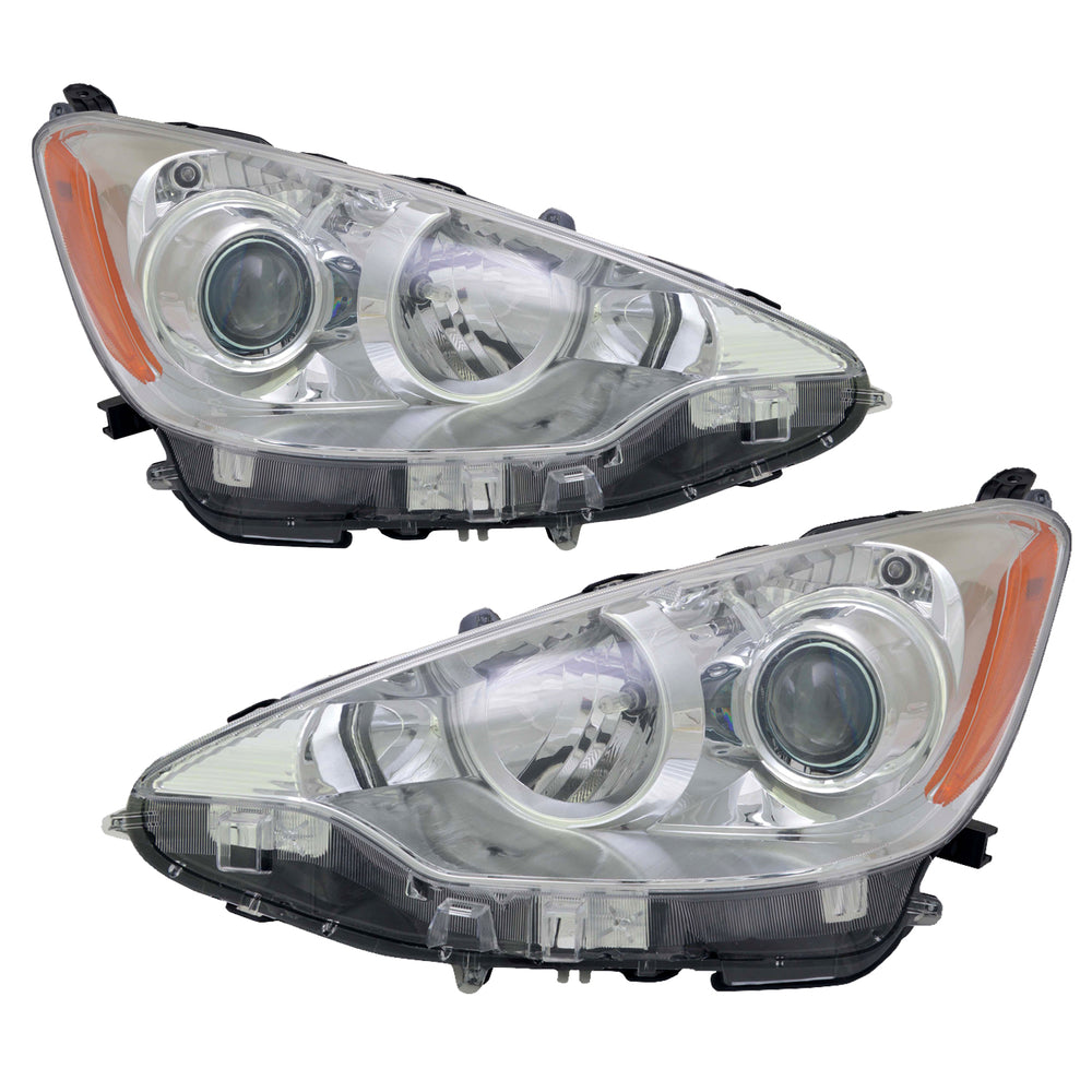 Headlight High Quality CAPA Left And Right Pair Fits 2012-2014 Toyota Prius C