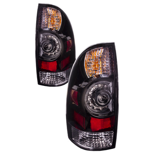 Tail Lights LED Type w/Clear Lens Black Bezel Set Left Driver Right Passenger Pair Fits 2005-2015 Toyota Tacoma