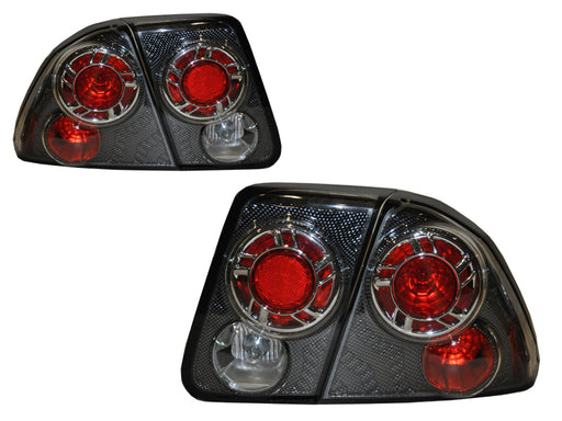 2001-2003 Honda Civic 4-Door Sedan New 4-Piece Tail Lights Set CF Wheel Type Pair
