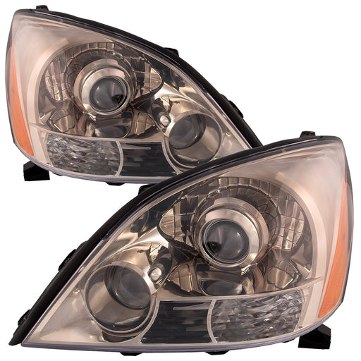 Headlights Set w/Black Chrome Housing Pair Fits Lexus GX470 2003-2009 w/ Sports Package