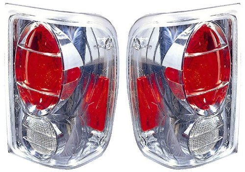 2001-2004 Ford Ranger New Clear/Chrome Tail Lights Set Driver Left Passenger Right Pair Assembly