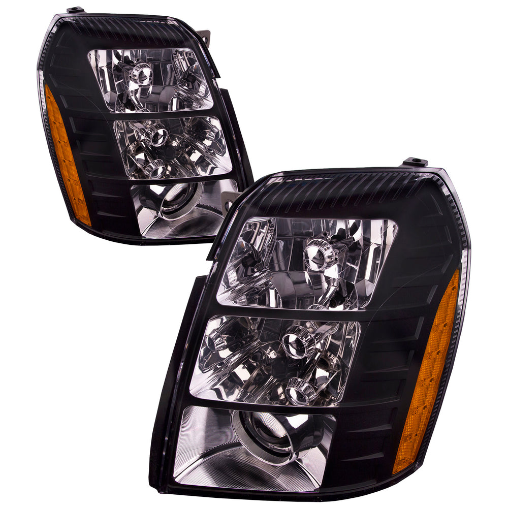 2007-2014 Cadillac Escalade Front Headlights Set Driver Left Passenger Right Side Pair Assembly HID headlights WITHOUT bulbs and WITHOUT ballast