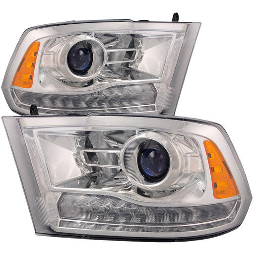 Headlights Set Projector Chrome Left Driver Right Passenger Pair Fits 2013-2015 Ram 1500 Pickup Truck Laramie Longhorn