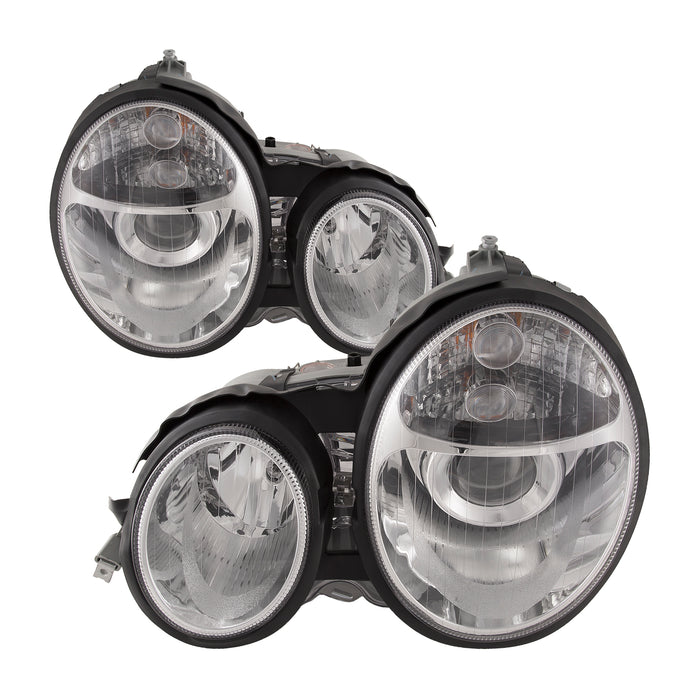 Headlights Halogen Projector Chrome Clear Lens Set Left Right Pair Assembly Fits 1996-1999 Mercedes Benz E-Class