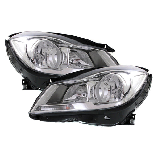 2012-2014 Mercedes Benz C-Class Sedan Headlights Set Halogen Passenger Right Driver Left Chrome NSF Headlamps Pair Assembly