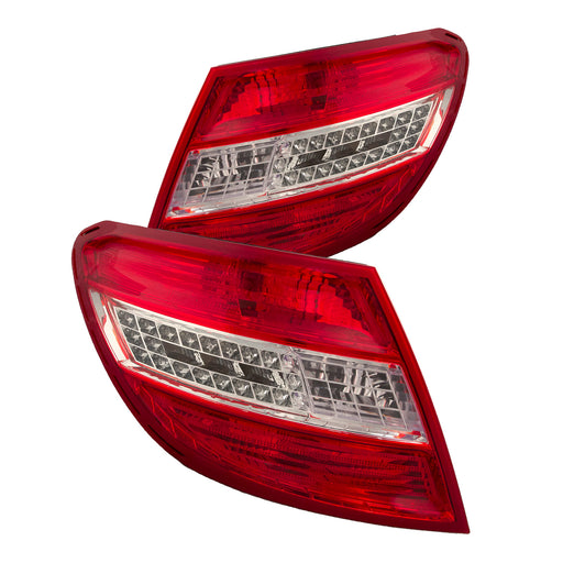 Rear Tail Light LED W/Curve Right Passenger Left Driver Set Pair Assembly Fits 2008-2011 Mercedes Benz C-Class