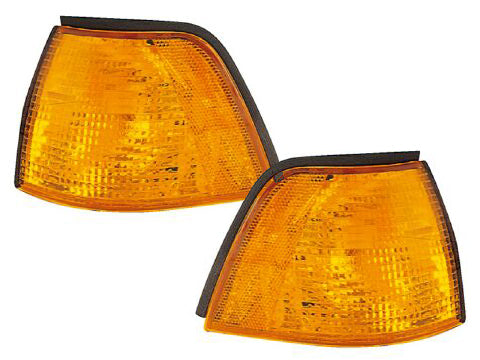 Corner Lights Set Amber Left Driver Right Passenger Pair Fits BMW 3 Series 1992-1998 318i 328i/1992-1995 325i (92-99/Hb 95-98/Sedan)