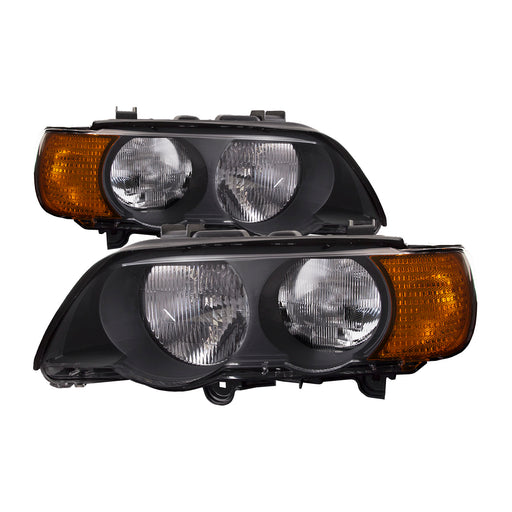 2000-2003 BMW X5 Headlights Set W/Amber Corners Left Driver Right Passenger Side Halogen Headlamp Pair Manual Twin Assembly