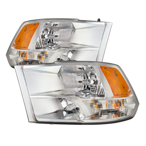 PERDE 2009-2012 Dodge Ram 1500 2011-17 2500 3500 Chrome Halogen-Type Quad Headlights
