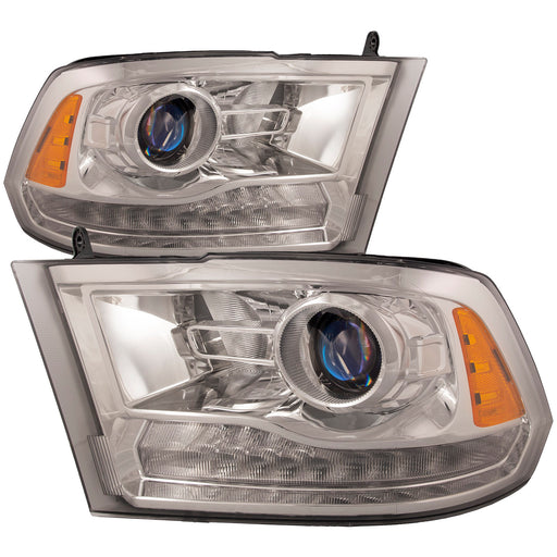 PERDE Headlights Set Halogen Projector Chrome Housing w/Performance Lens Driver Left Passenger Right Pair Fits 2013-2018 Dodge Ram 1500 2500 3500 LED DRL