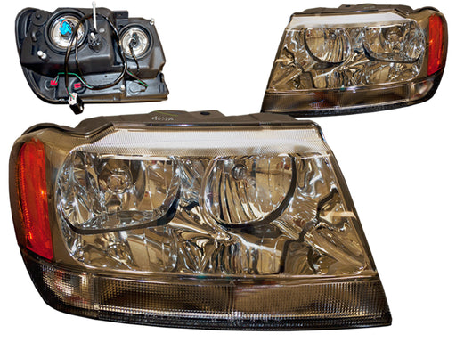 PERDE Headlights Set Halogen Chrome Performance Lens Fits 1999-2004 Jeep Grand Cherokee
