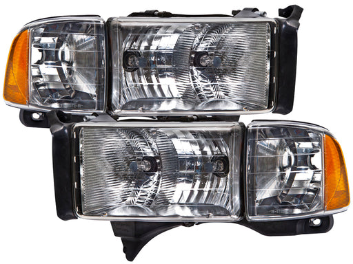 PERDE Headlights Halogen Set w/Performance Lens Pair Fits 1999-2002 Dodge Ram Sport