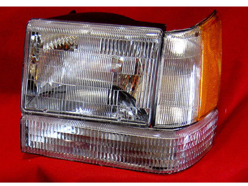Headlight/Signal Corner Light 3-Piece Set Halogen Left Driver Side Assembly Fits 1993-1996 Jeep Grand Cherokee