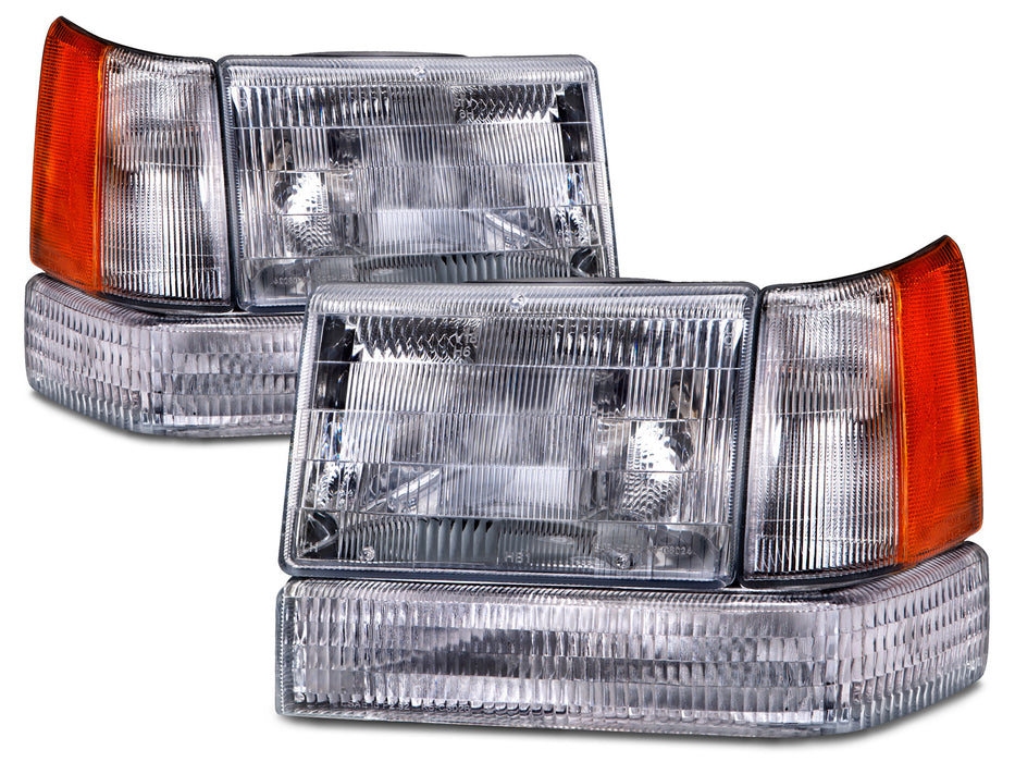Headlights Halogen Chrome 6-Piece Set Left Driver Right Passenger Pair Fits 1993-1996 Jeep Grand Cherokee