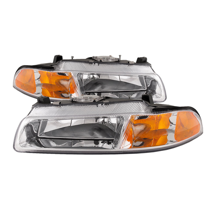 Chrome Housing Halogen Headlight Set For 1995-2000 Chrysler Cirrus/ Dodge Stratus/ 1996-2000 Plymouth Breeze