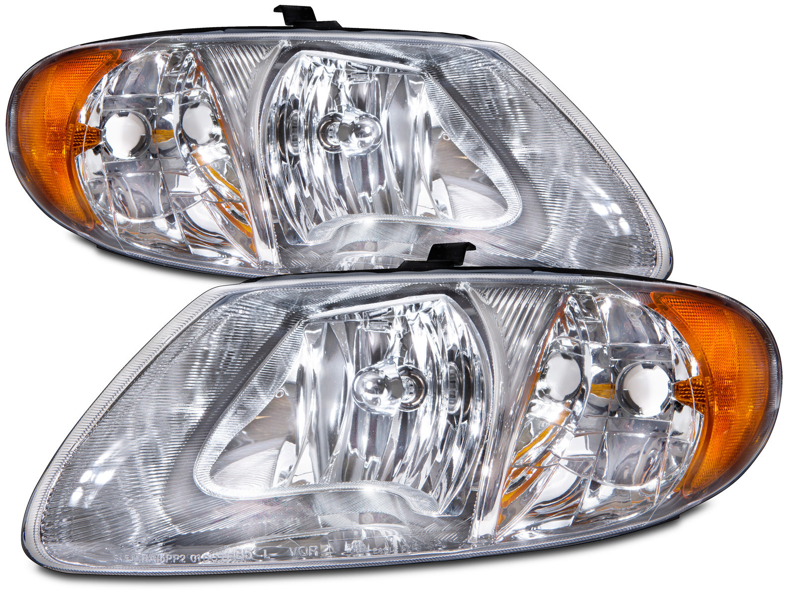 Headlights Set Chrome Left Right Pair Fits 2001-2007 Chrysler Town&Country/Dodge Caravan (w/113 inch Wheelbase)