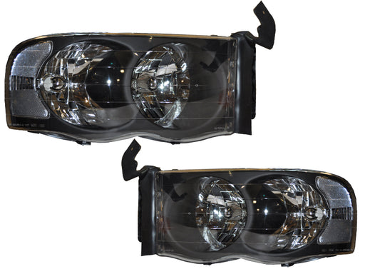 2002-2005 Dodge Ram 1500/2500/3500 Euro Black Headlights Set
