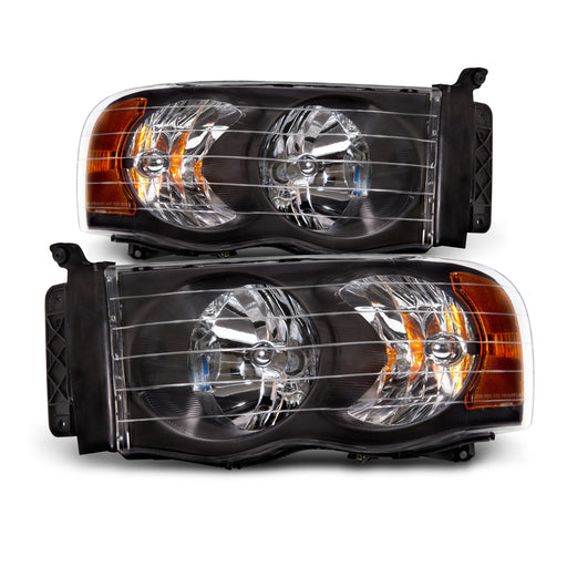 2002-2005 Dodge Ram 1500/2003-05 Dodge Ram 2500-3500 Black Headlights Pair
