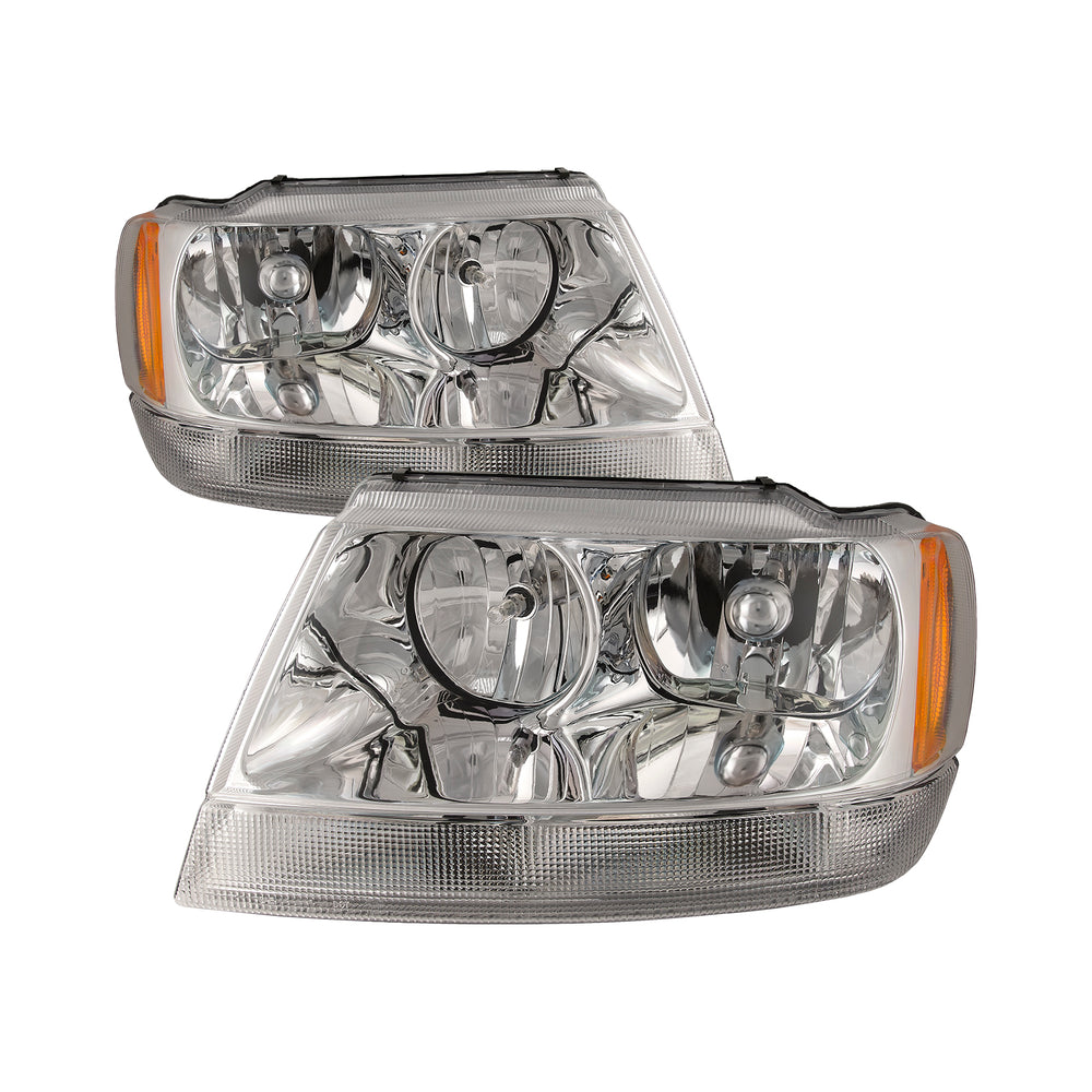 Headlights Set Chrome w/Performance Lens Compatible with 1999-2004 Grand Cherokee