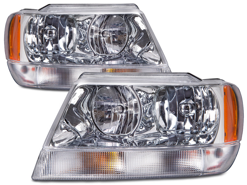 Headlights Chrome Set Right Passenger Left Driver Pair Fits 1999-2004 Jeep Grand Cherokee Limited-Style (Bulbs Not Included)