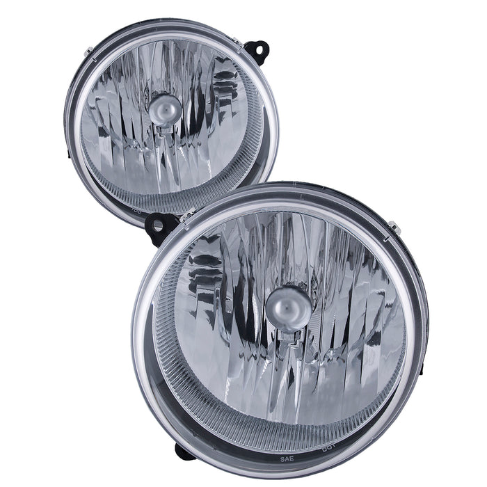 Headlights Chrome Halogen Set Driver Left Passenger Right Pair Fits 2005-2007 Jeep Liberty (Fits 02-07 In Pairs Only)