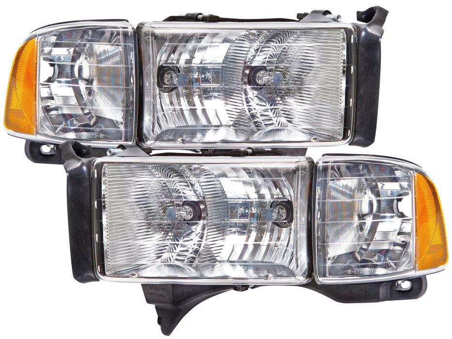 Headlights Halogen Chrome Set Driver Left Passenger Right Pair Fits  1999-2001 Dodge Ram 1500/1999-2002 Ram 2500,3500
