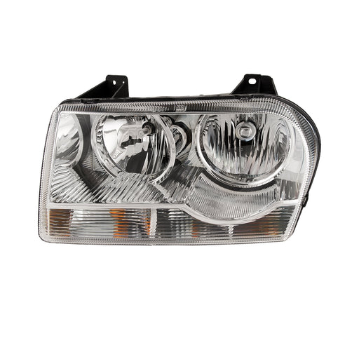 Headlight Halogen Chrome Left Driver Side Fits 2005-2010 Chrysler 300 (Straight Bottom)