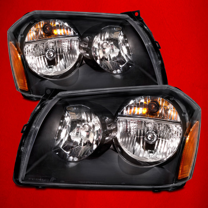 2005-2007 Dodge Magnum Black Headlights Set w/Xenons