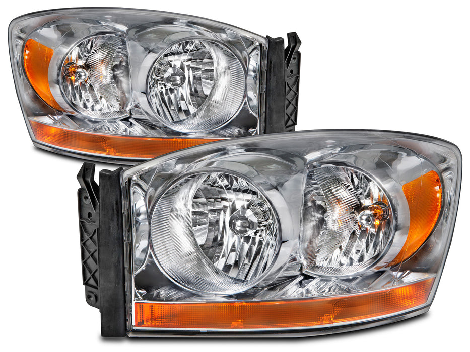 2006 Dodge Ram Truck Halogen Headlight Set W/Xenon Bulbs Driver Left Passenger Right Headlamp Pair Assembly