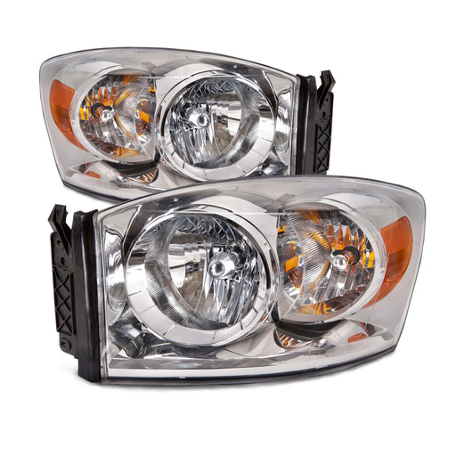 2006-2008 Dodge Ram 1500/2006-2009 2500-3500 Chrome Headlights Set w/Xenon-Enhanced Halogen Bulbs