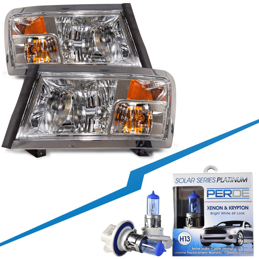 2008-2011 Dodge Dakota Halogen Headlights Set w/Xenon Bulbs