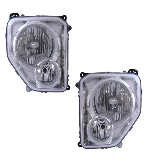 2008-2012 Jeep Liberty HEADLIGHTS W/O BLACK BEZEL W/O FOG LAMPS PAIR