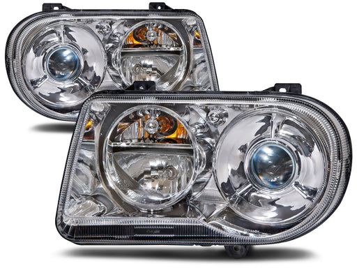 Headlamps HID Set w/o Bulb and Ballast Driver Left Passenger Right Pair Fits 2005-2010 Chrysler 300 V8 (05:6.1L Eng) (05-06:5.7L Eng: W/O H/Lamp Leveling)