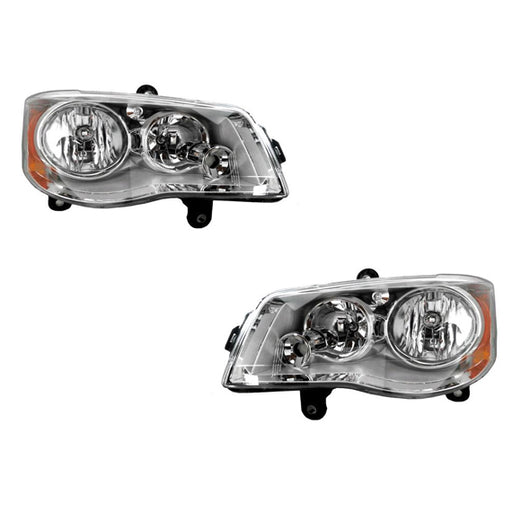Headlights Set (w/o HID Kits) HID-Type Right Passenger Left Driver Pair Fits 2008-2016 Chrysler Town & Country