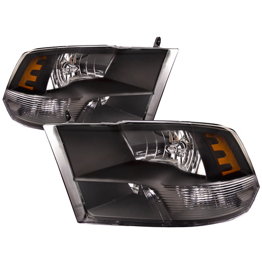 2009-2012 Dodge Ram 1500 Headlights Black Housing w/ Quad Lamp/10-12 Ram 2500-3500 Driver Left Passenger Right Pair Headlamps Set Assembly